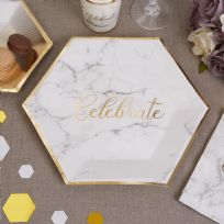 Scripted Marble Large Paper Plates (8)